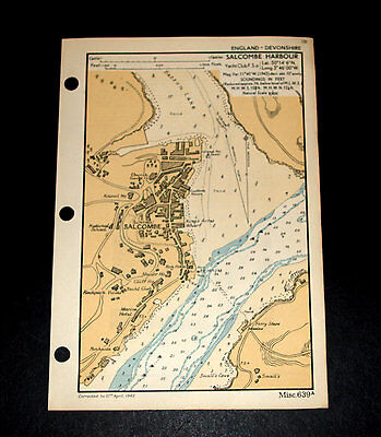 Coatal Defence of SALCOMBE HARBOUR, Devon - Detailed rare WW2 Naval Map 1943