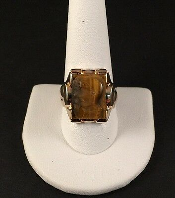 RARE Mens Estate 10K GOLD DOUBLE ROMAN SOLDIER TIGER EYE CAMEO RING!! Size 10.75