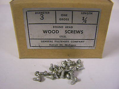 """#3 x 1/4"""" Round Head Zinc Plated Wood Screws Slotted USA Made Qty. 144"""