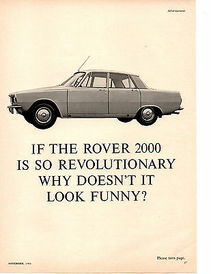 1965 Rover 2000   ~  Original 2-Viewable Single-Page Print Ad