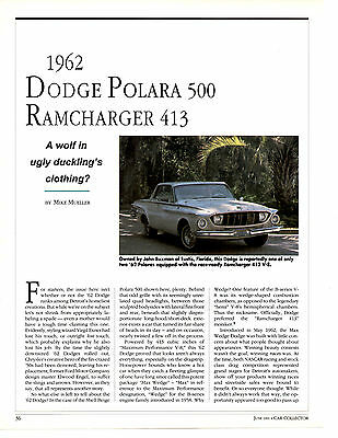 1962 Dodge Polara 500 Ramcharger 413  ~  Great 4-Page Article / Ad