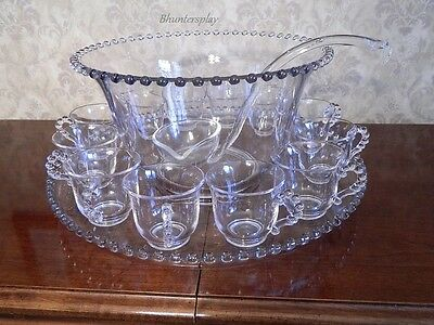 Imperial Candlewick Punch Bowl Cups Underplate Ladle Mint 15 Pc Set