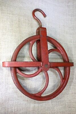"old well & barn pulley LARGE 11"" wheel heavy duty iron vintage rustic industrial"