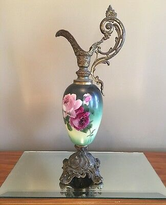 "Antique Victorian Porcelain Ewer Hand Painted Roses Brass Base 19"" Pitcher Lamp"