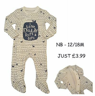 Babygrow Boys Sleepsuit Onesie Baby Grow 100% Cotton Chainstore Blue Love Daddy