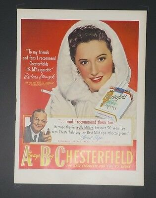 1949 VINTAGE AD for Chesterfield Cigarettes - Barbara