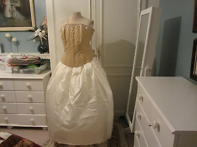vintage wedding dress in gold and cream size 14/16