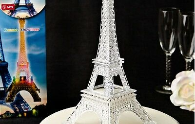 12 Eiffel Tower Table Centerpiece Clear Acrylic Plastic with Colorful Led Lights