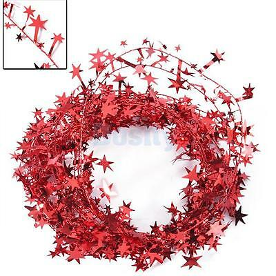 7m Glittering Red Star Wire Foil Tinsel Garland Party Christmas Party Decor