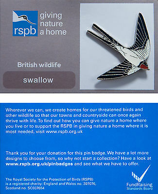 RSPB Pin Badge | Swallow | GNaH backing card [00575]