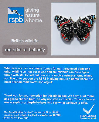 RSPB Pin Badge | Red Admiral Butterfly | GNaH backing card [00452]