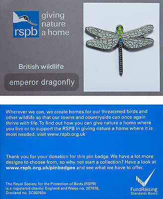 RSPB Pin Badge | Emperor Dragonfly | GNaH backing card [00178]