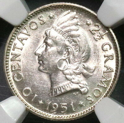 1951 NGC MS 62 Dominican Republic Silver 10 Centavos Key Date Coin (16102705C)