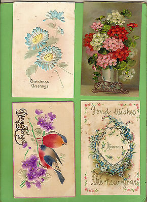 #c. Four Early  Postcards - Flower Theme, Raised Design