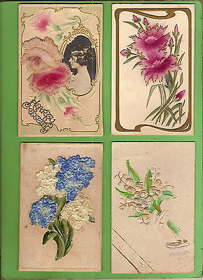 #e. Four Early  Postcards - Flower Theme, Raised Design