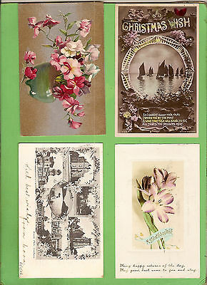 #F. Four Early  Postcards - Flower Theme