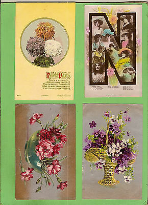 #l. Four Early  Postcards - Flower Theme