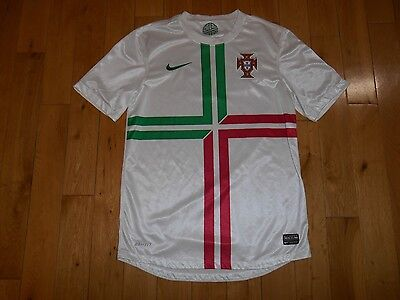 NIKE Authentic PORTUGAL National Team Soccer 2012 Away White Jersey Mens Sm Kit