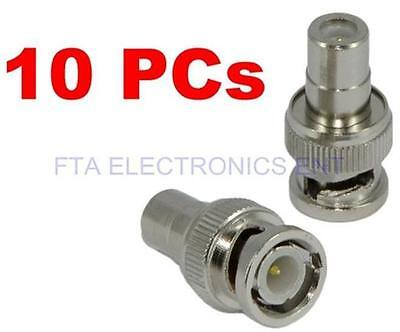 10Pcs BNC Male to RCA Female Coax Cable Connector Adapter Plug CCTV Video Camera