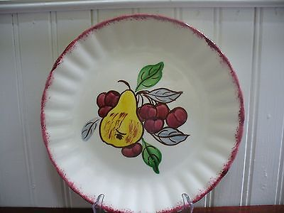 "Blue Ridge Southern Pottery Country Fair Pear & Cherries 8.5"" Plate Red Rim"