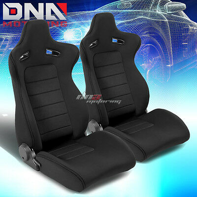 Pair Type-Xl10 Black Sports Jdm Racing Seats+Mounting Slider Rails Left+Right