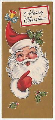 Vintage Greeting Card Merry Christmas Santa Claus L17