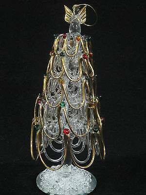 8 In Handmade Glass or Crystal Christmas Tree Angel on Top Gold Accents Ornament
