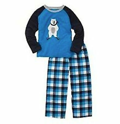 Nwt Carters 2Pc Boy Winter Blue Plaid Polar Bear Pajamas 12M & 2T