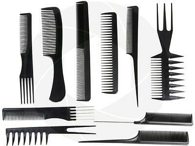 10pcs Set Salon Professional Combs Hairdressing Hair Styling Plastic Barber Tool