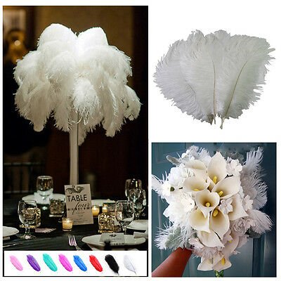 Wholesale 10PCS White Ostrich Feathers 12-14inches/30-35cm Wedding Home Decor US