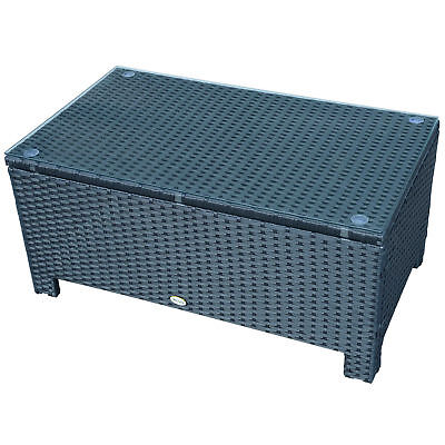 Outsunny Rattan Wicker Coffee Table w/ Tempered Glass Top Garden Patio Furniture