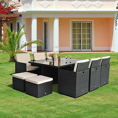 11pcs Deluxe Rattan Patio Dining Set Wicker Sofa Set Outdoor w/ Cushions Black