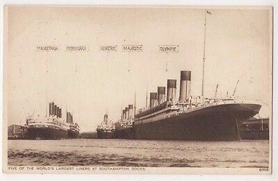 Worlds's Largest Liners at Southampton, Olympic Shipping Postcard B616