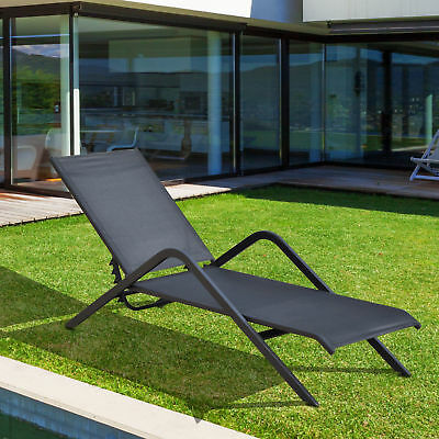pool chaise lounge chair recliner outdoor patio furniture textilene adjustable - Chaise Outdoor Lounge Chairs
