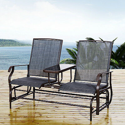 Outsunny 2 Person Patio Glider Rocking Chair Bench Outdoor Loveseat Rocker