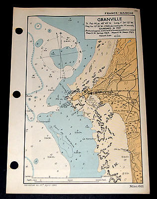 Invasion Planning of France GRANVILLE - WW2 Naval Map 1943