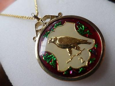 Vintage Enamelled Isle Of Man Two Pence Coin 1984 Pendant & Necklace
