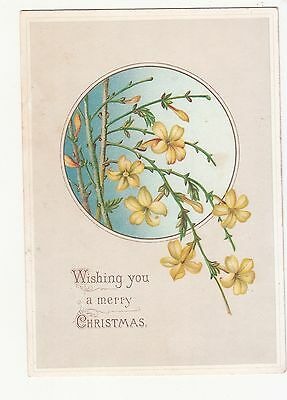 Wishing You a Merry Christmas Yellow Flowers Victorian Card c 1880s