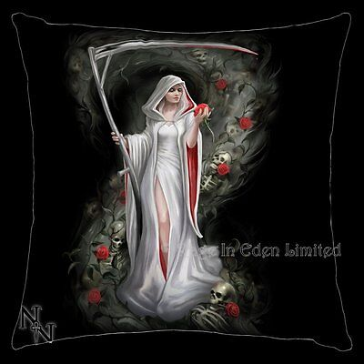 *LIFE BLOOD* Goth Fantasy Reaper Skull Art Black Cushion By Anne Stokes