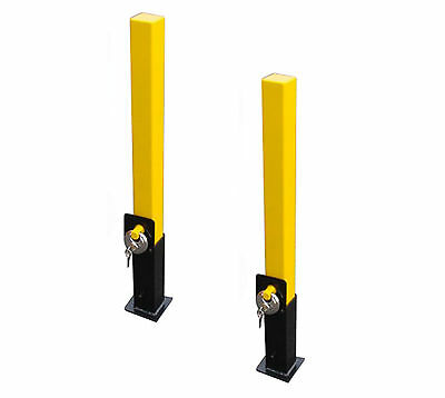 2 x REMOVABLE SECURITY POST PARKING DRIVEWAY CEMENT IN BOLLARD WITH PADLOCK LOCK