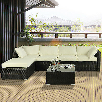 6pcs Deluxe Outdoor Rattan Wicker Sofa Garden Sectional Couch Patio Furniture