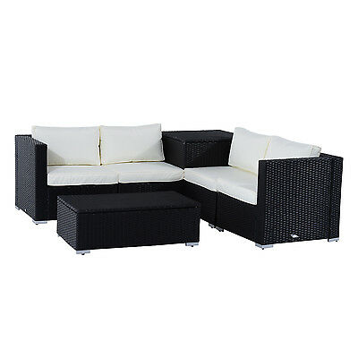 6pcs Deluxe Rattan Wicker Sofa Garden Sectional Couch Patio Furniture Set Black