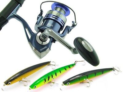 SARATOGA SURF VX 9'0 15kg Beach Spinning Fishing Rod Reel and Minnow Lures Combo