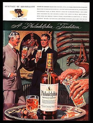 "Original 1943 ""philadelphia Whiskey"" Businessmen Hospitality Gun Rack Print Ad"
