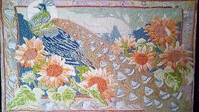 Antique Edwardian Framed Wool Embroidered Tapestry Panel/Wall Hanging - Peacock