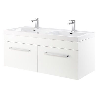 Wall Mounted White Gloss Double Vanity Unit & Basins With 2 Drawers Tito