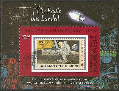 MICRONESIA SGMS391 1994 1st MAN ON THE MOON SHEET MNH