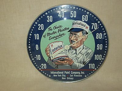 """MINT - RARE 1940's """"INTERLUX PAINT"""" -  GLASS FACED - PAM ADVERTISING THERMOMETER"""