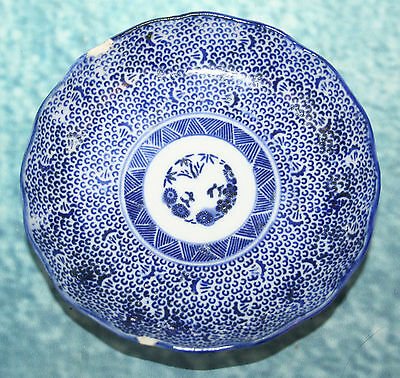 Antique Japanese Blue & White Imari Shallow Dish Pin Tray