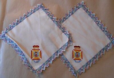 pair of silk  antimacassars  of the  Wiltshire Regiment